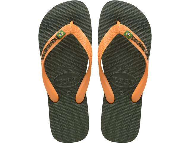 havaianas Brasil Logo Sandalen, green olive/vibrant orange